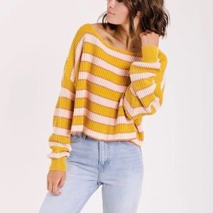 Free People Just My Stripe Crop Sweater